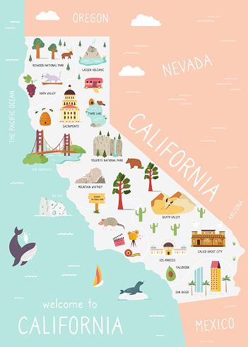 Illustrated map of California with monuments, fauna, flora. American state with symbols, cities and destinations. Bright design, banner, poster