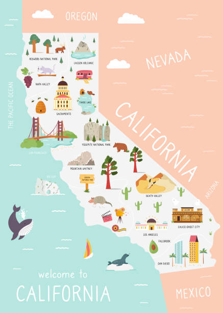 Illustrated map of California with monuments, fauna, flora. American state with symbols, cities and destinations. Bright design, banner, poster Illustrated map of California with monuments, fauna, flora. American state with symbols, cities and destinations. Bright design, banner, poster california map stock illustrations