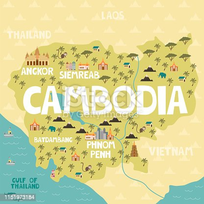 Illustrated map of Cambodia with cities and landmarks. Editable vector illustration