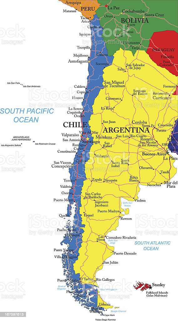 Illustrated map of Chile with different colors vector art illustration