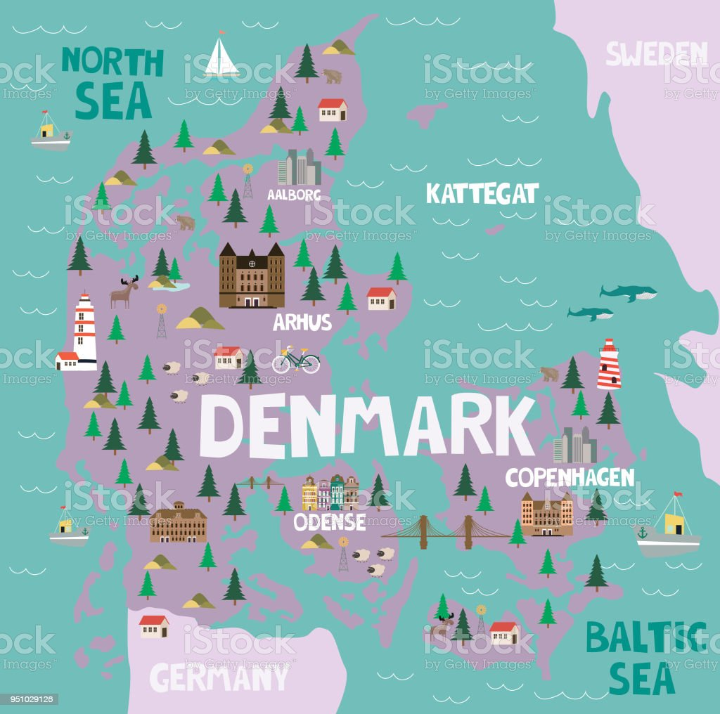 Illustrated Map Of Denmark With Nature And Landmarks Stock Vector - National landmarks map