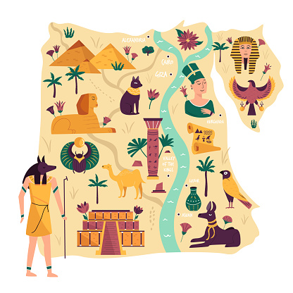 Illustrated map of Egypt with ancient landmarks, symbols, cities, statues. Vector illustration