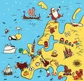 Illustrated Map of Europe. With funny and typical objects, people, activities, animals, plants, history etc. Illustration in eps10 vector, continent on separate layer.