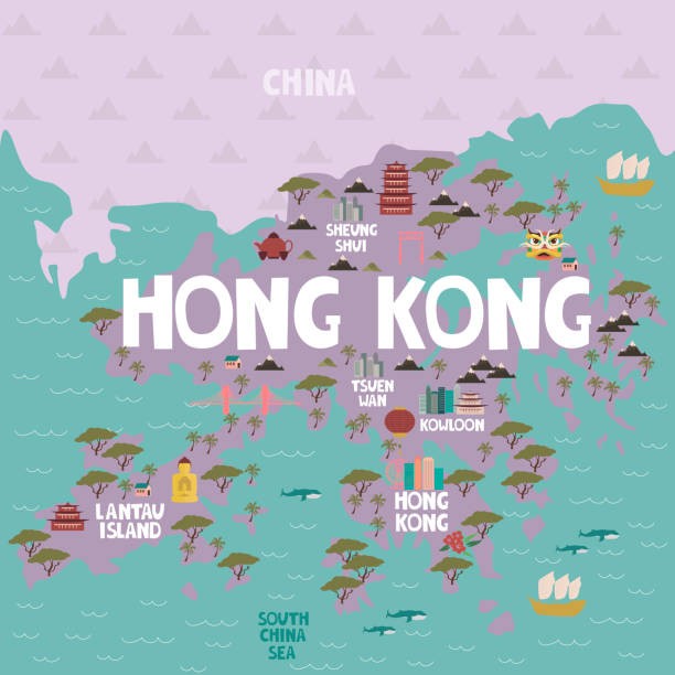 illustrazioni stock, clip art, cartoni animati e icone di tendenza di illustrated map of hong kong with cities and landmarks. - hong kong