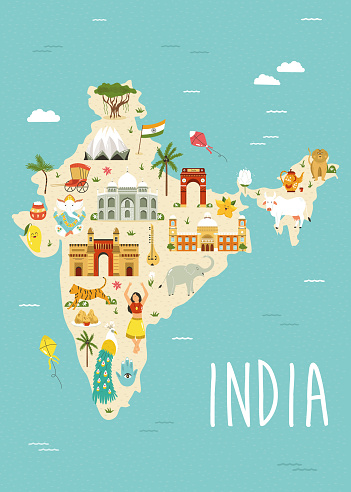 Illustrated map of India with famous landmarks, symbols and animals.