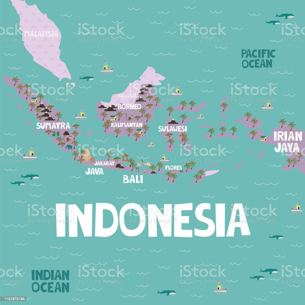 Illustrated Map Of Indonesia With Cities And Landmarks Stock