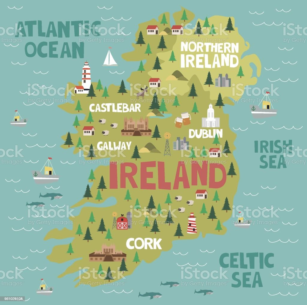 Illustrated map of Ireland with nature and landmarks