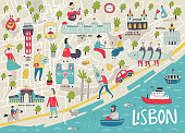 Big Illustrated Map of Lisbon with cute and fun hand drawn characters, local plants and elements. Color vector illustration.