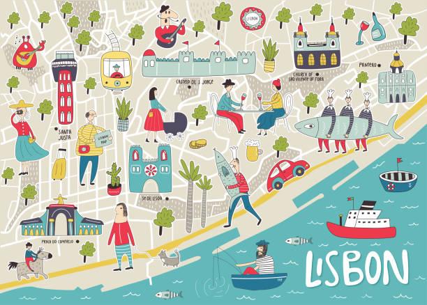 ilustrowana mapa lizbony z uroczymi i zabawnymi ręcznie rysowanymi postaciami, lokalnymi roślinami i elementami. ilustracja wektora kolorów - lizbona stock illustrations