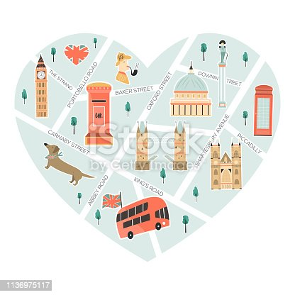 Illustrated map of London with landmarks, characters and symbols. Vector abstract design