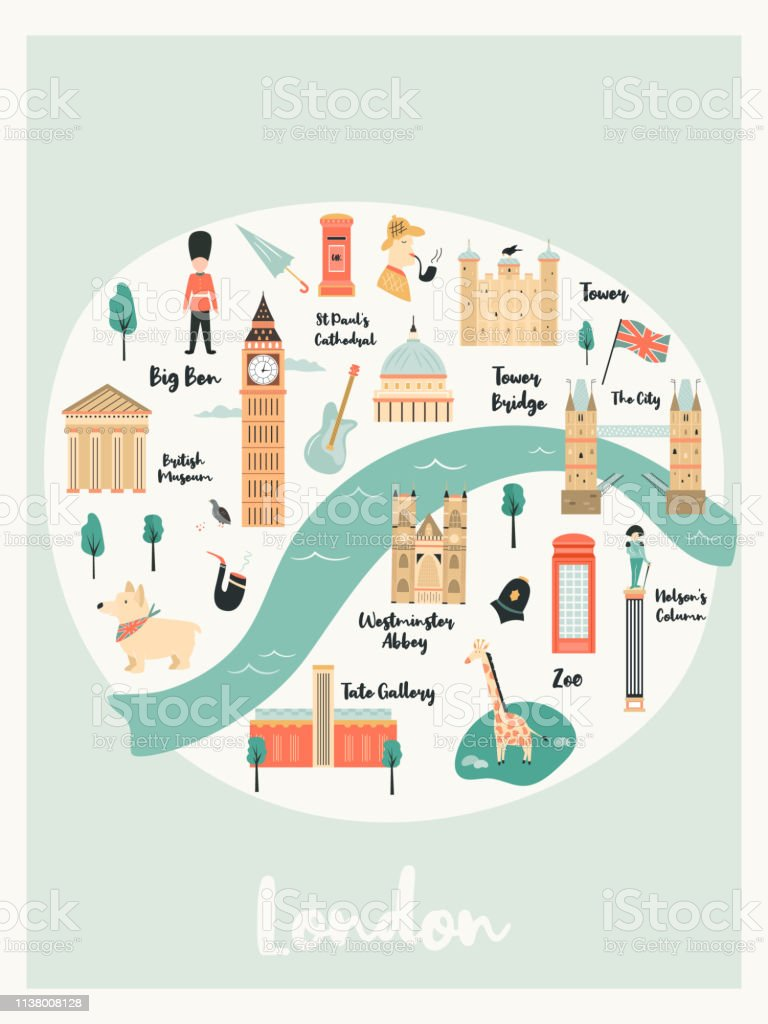 Map Of Landmarks In London.Illustrated Map Of London With Landmarks Characters And Symbols