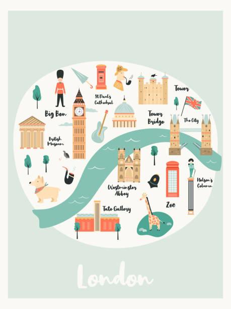 ilustraciones, imágenes clip art, dibujos animados e iconos de stock de mapa ilustrado de londres con puntos de referencia, personajes y símbolos. diseño vectorial - london