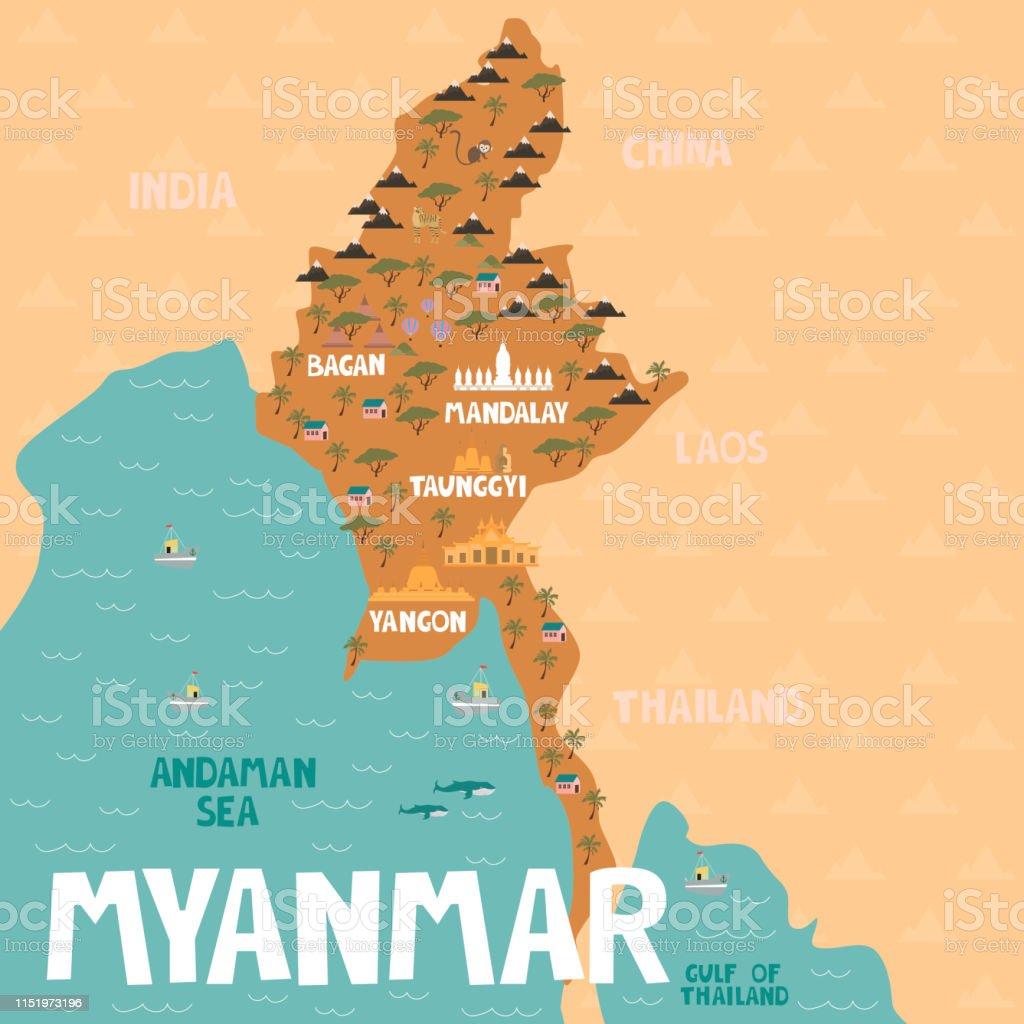 Karte Myanmar.Illustrierte Karte Von Myanmar Mit Städten Und Sehenswürdigkeiten