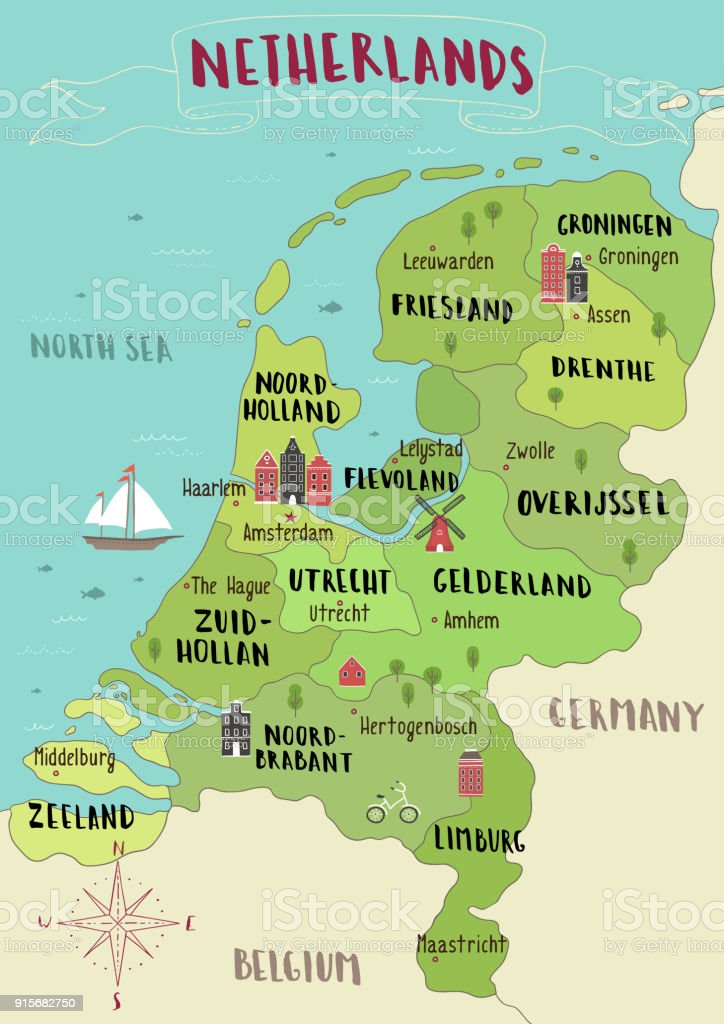 Illustrated map of netherlands stock vector art more images of illustrated map of netherlands royalty free illustrated map of netherlands stock vector art amp gumiabroncs Images