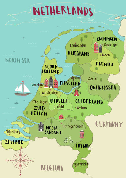 illustrated map of netherlands - holandia stock illustrations
