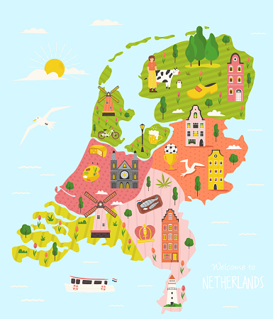 Illustrated map of Netherlands with famous symbols