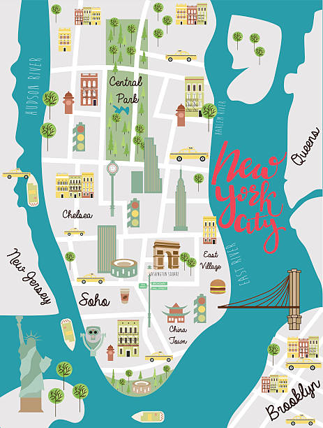 illustrated map of new york city - new york map stock illustrations, clip art, cartoons, & icons