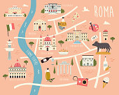 istock Illustrated map of Rome with famous symbols, landmarks, buildings. 1329015801