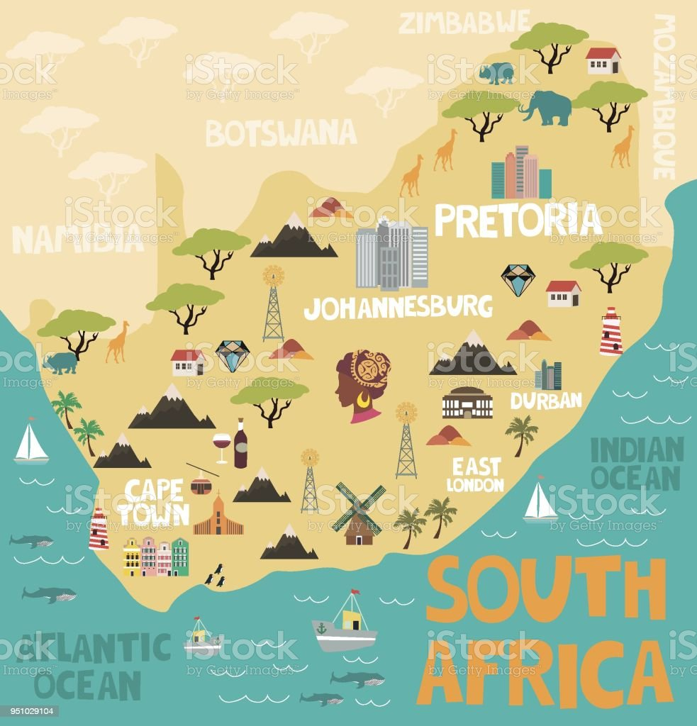 Illustrated Map Of South Africa With Nature And Landmarks Stock