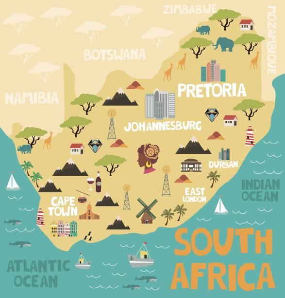 bildbanksillustrationer, clip art samt tecknat material och ikoner med illustrerad karta över sydafrika med natur och sevärdheter - south africa