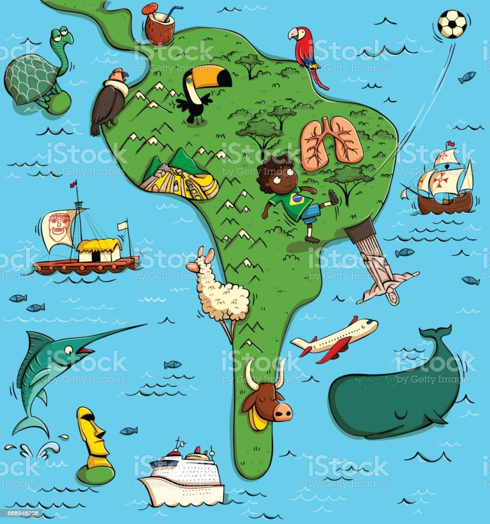 Illustrated Map Of South America Stock Vector Art More Images Of - Map south america