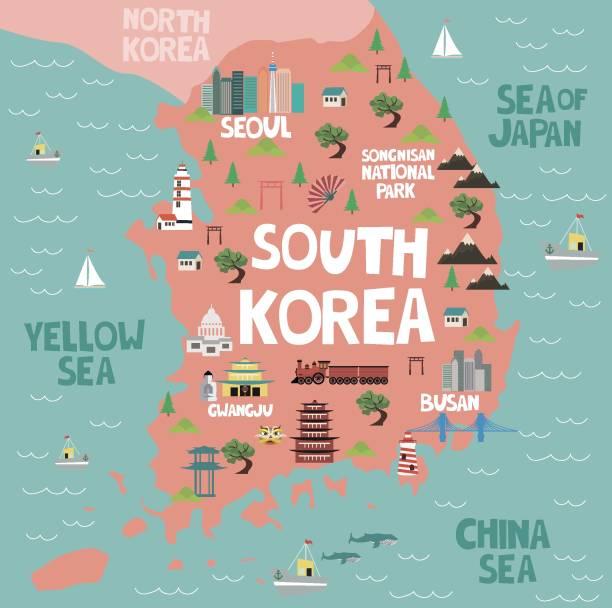 stockillustraties, clipart, cartoons en iconen met geïllustreerde kaart van zuid-korea met de natuur en bezienswaardigheden - zuid korea