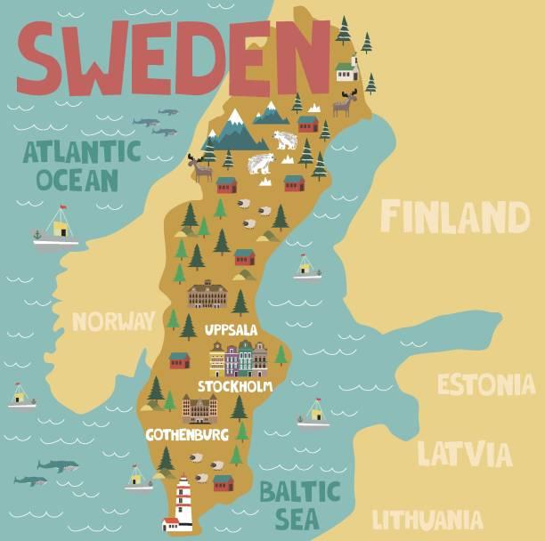 bildbanksillustrationer, clip art samt tecknat material och ikoner med illustrerad karta över sverige med natur och sevärdheter - sweden map