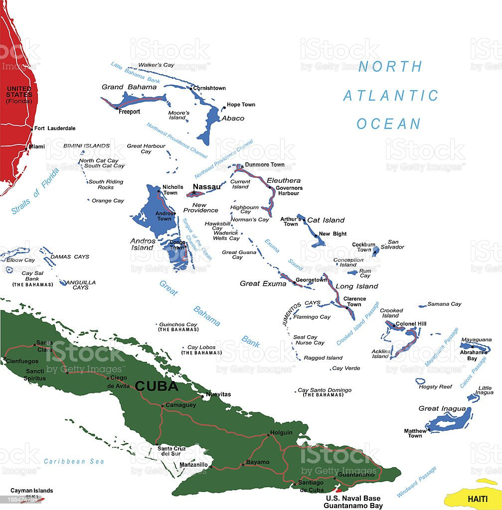 Illustrated map of the Caribbean with the Bahamas in blue vector art illustration