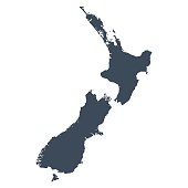 A graphic illustrated vector image showing the outline of the country New Zealand. The outline of the country is filled with a dark navy blue colour and is on a plain white background. The border of the country is a detailed path.