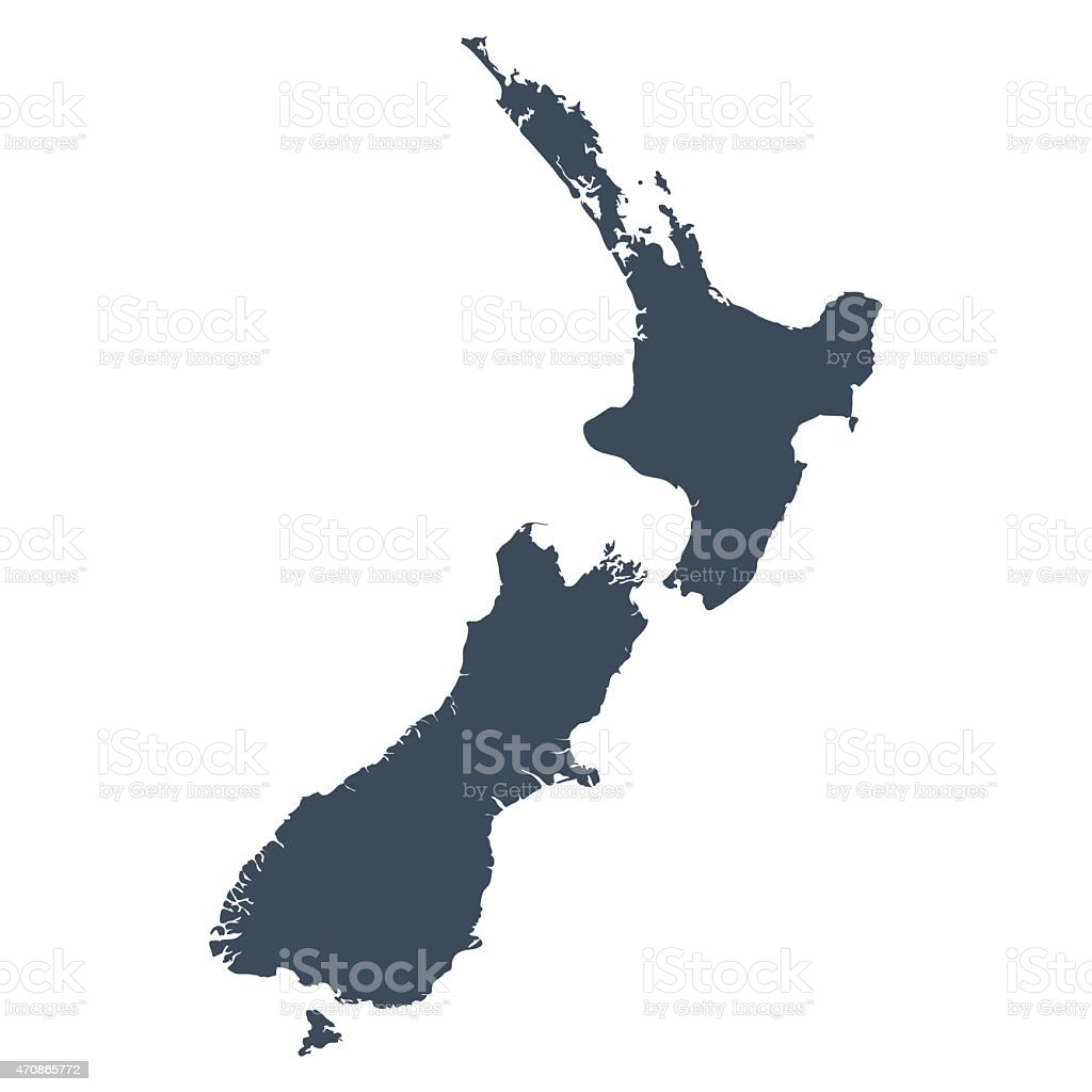 Illustrated map of the country of New Zealand. vector art illustration