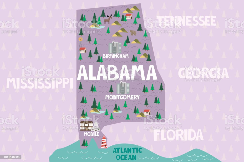 Illustrated Map Of The State Of Alabama In United States ... on wisconsin topographical map key, georgia beaches map, georgia map cities ga, georgia county map, georgia's manufacturing key, georgia colony towns, georgia colony map, georgia capital map, georgia map bodies of water, georgia pine mountain trail map, georgia state map, georgia state location,