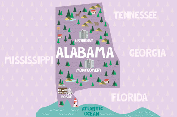 illustrated map of the state of alabama in united states - alabama stock illustrations