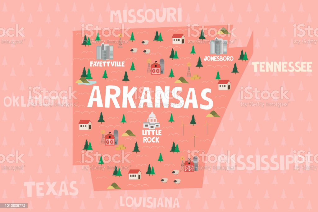 Illustrated map of the state of Arkansa in United States vector art illustration
