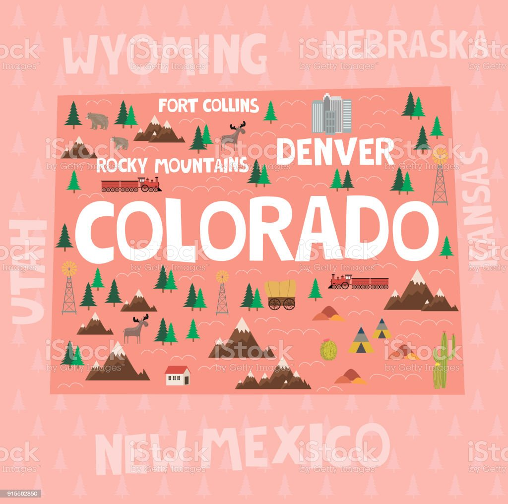 illustrated map of the state of colorado in united states with