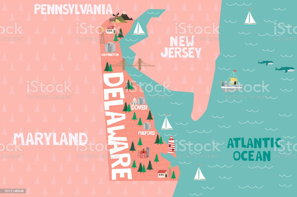 Illustrated Map Of The State Of Delaware In United States ... on delaware history trail, delaware capital, delaware maryland, delaware major cities, delaware map cities, delaware major geographical features, delaware us map, delaware 13 colony map, delaware usa,