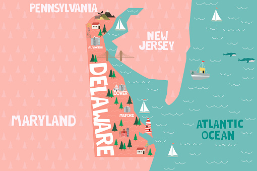 Illustrated map of the state of Delaware in United States