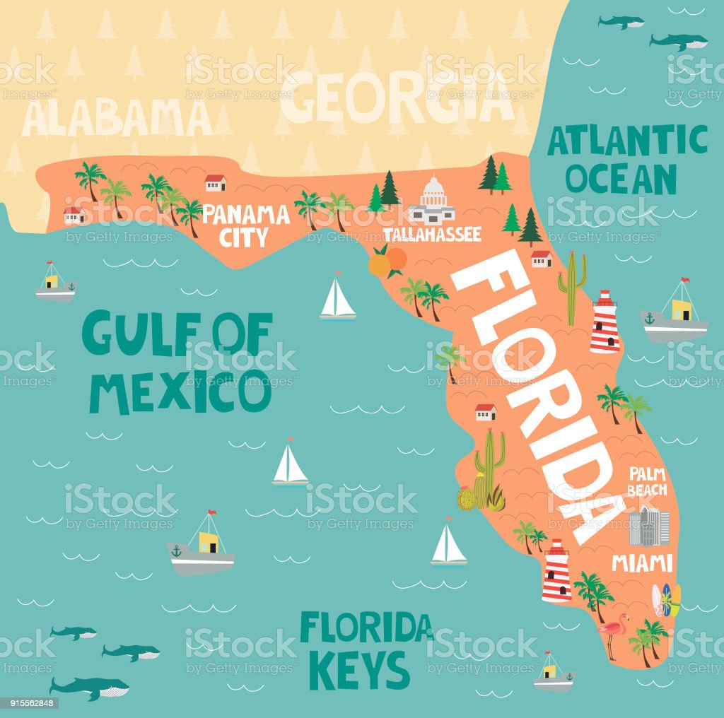Map Of State Of Florida With Cities.Illustrated Map Of The State Of Florida In United States With Cities