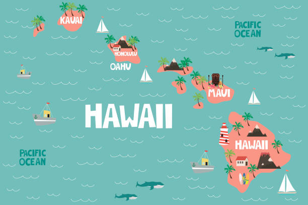 Illustrated map of the state of Hawaii in United States Illustrated map of the state of Hawaii in United States with cities and landmarks. Editable vector illustration island stock illustrations