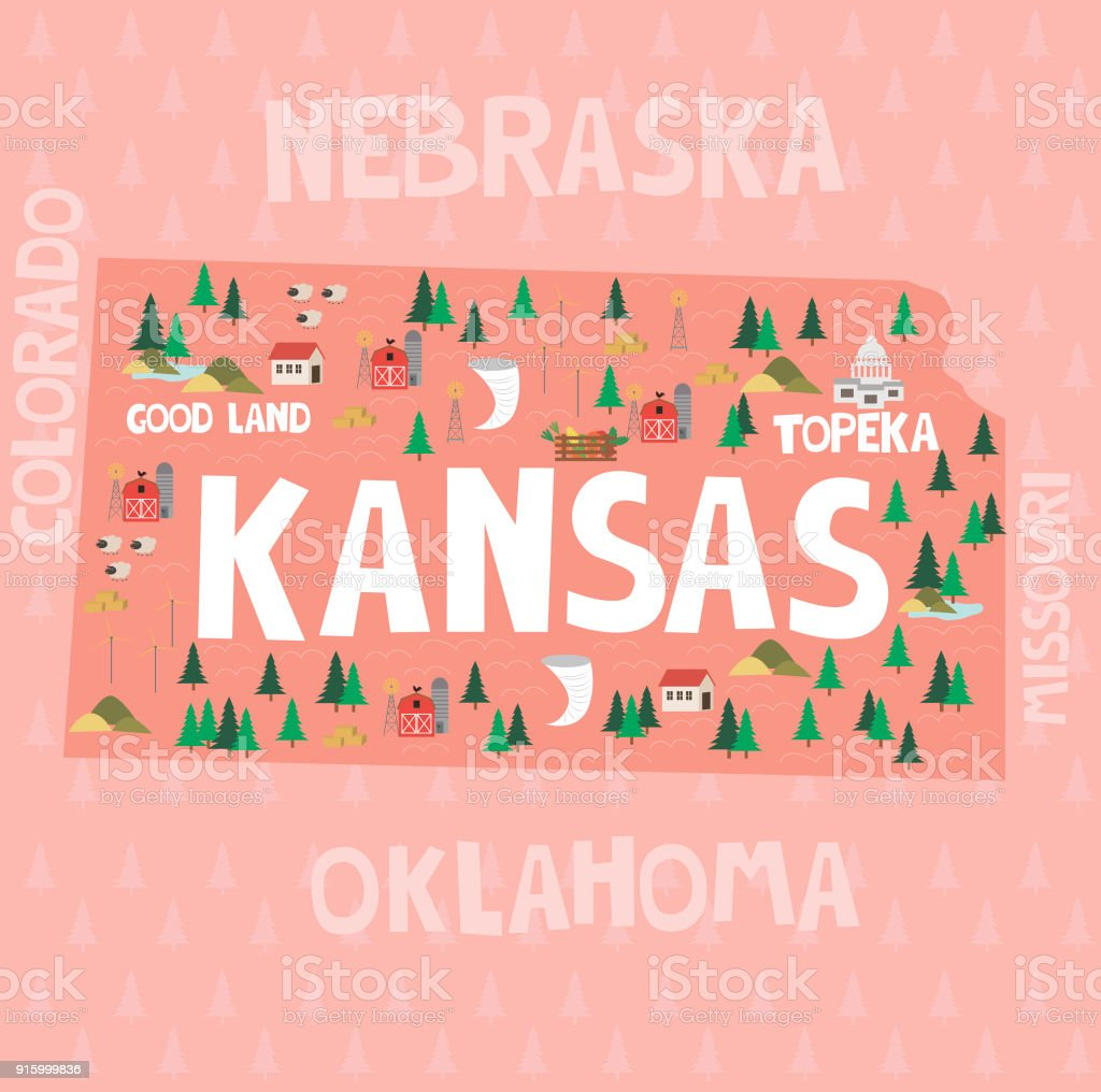 Illustrated Map Of The State Of Kansas In United States With ...