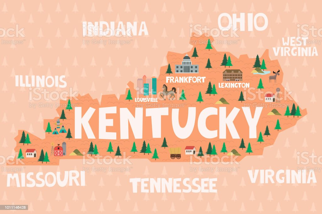 Illustrated Map Of The State Of Kentucky In United States Stock ...