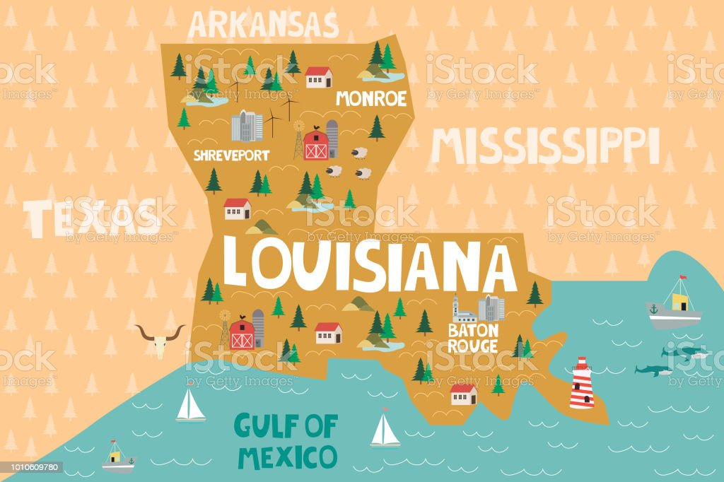 Geographic Map Of Louisiana.Illustrated Map Of The State Of Louisiana In United States Stock