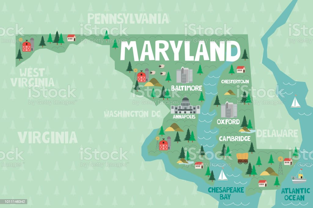 Illustrated Map Of The State Of Maryland In United States Stock