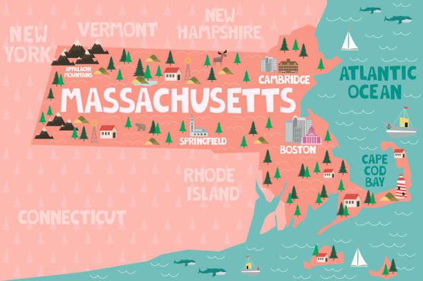 stockillustraties, clipart, cartoons en iconen met geïllustreerde kaart van de staat massachusetts in de verenigde staten - massachusetts