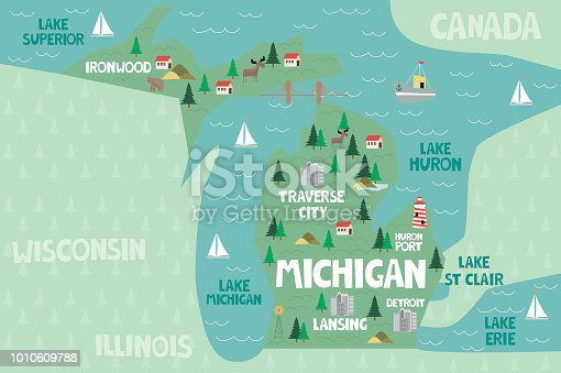istock Illustrated map of the state of Michigan in United States 1010609788
