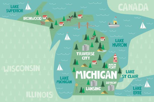 stockillustraties, clipart, cartoons en iconen met geïllustreerde kaart van de staat michigan in de verenigde staten - michigan