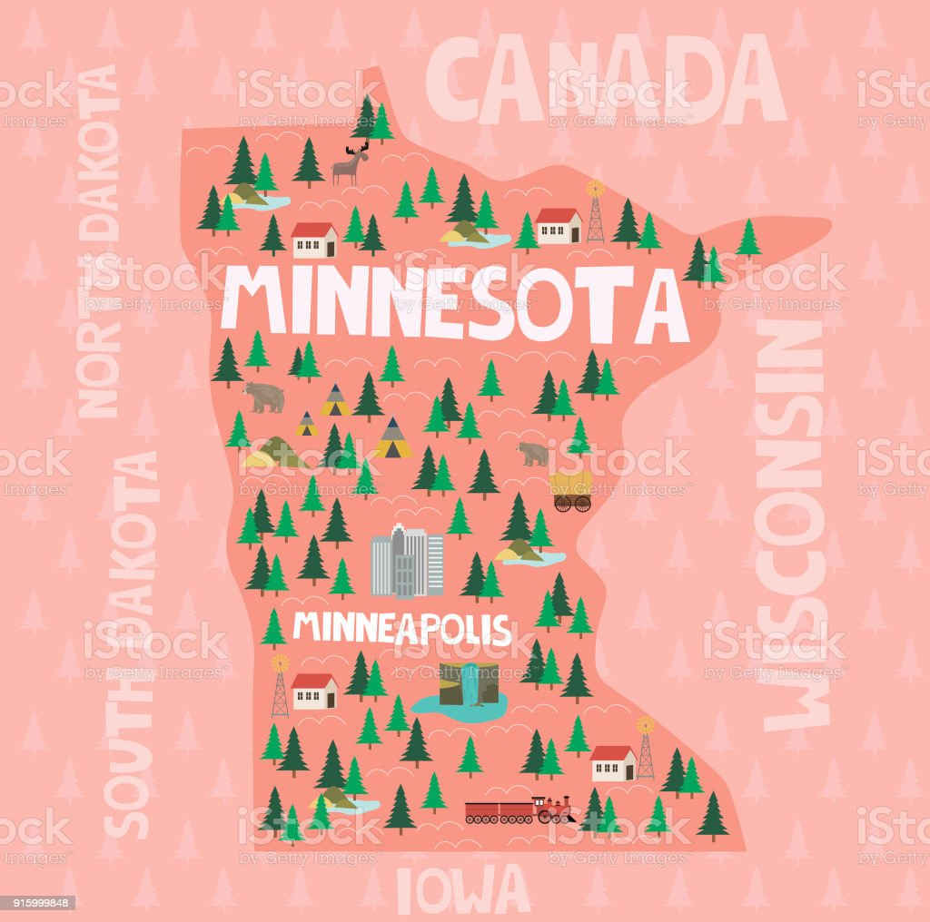 Illustrated Map Of The State Of Minnesota In United States ...