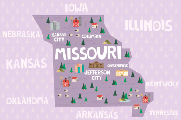 illustrated map of the state of missouri in united states - missouri stock illustrations