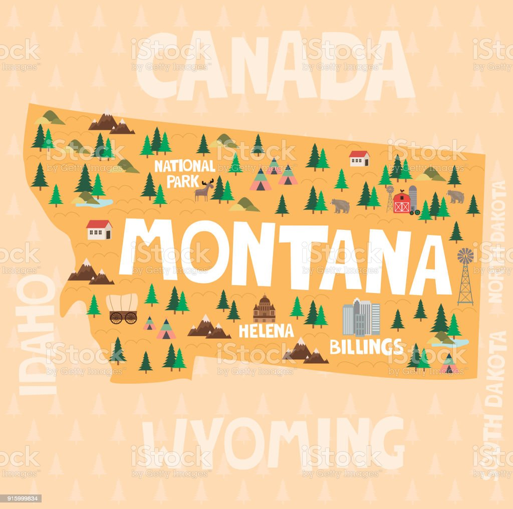 Illustrated Map Of The State Of Montana In United States With Cities ...