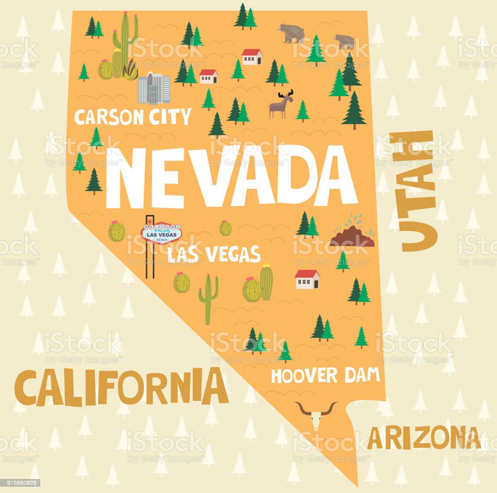 Map Of Arizona Landmarks.Illustrated Map Of The State Of Nevada In United States With Cities