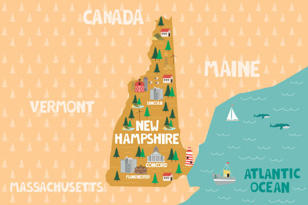 stockillustraties, clipart, cartoons en iconen met geïllustreerde kaart van de staat new hampshire - new hampshire
